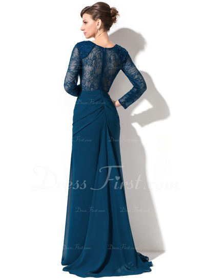 Trumpet/Mermaid Sweetheart Sweep Train Chiffon Lace Evening Dress With Ruffle Beading Sequins (017050390)