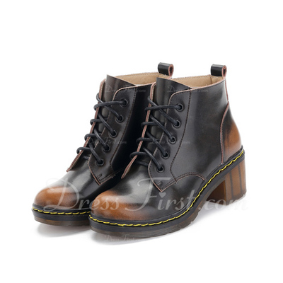 Gerçek Deri Kalın Topuk Ayak bileği Boots Martin Boots Ile Bağcıklı ayakkabı (088057512)