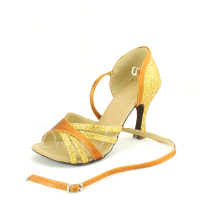 Women's Satin Leatherette Heels Sandals Latin With Ankle Strap Dance Shoes (053057160)