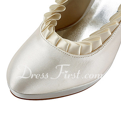 Women's Satin Cone Heel Closed Toe Platform Pumps With Ruffles (047015228)