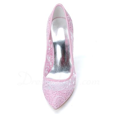 Kadın Lace İnce Topuk Kapalı Toe Platform Pompalar (047057074)