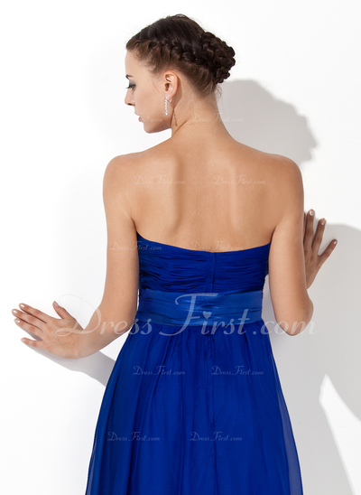 Empire Strapless Knee-Length Chiffon Bridesmaid Dress With Ruffle Sash Bow(s) (007000839)