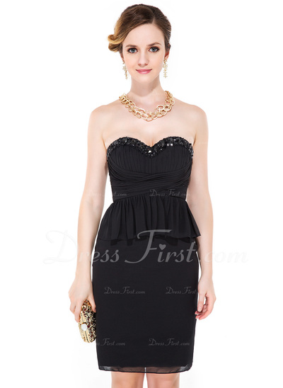 Sheath/Column Sweetheart Knee-Length Chiffon Cocktail Dress With Beading Sequins Cascading Ruffles (016051149)