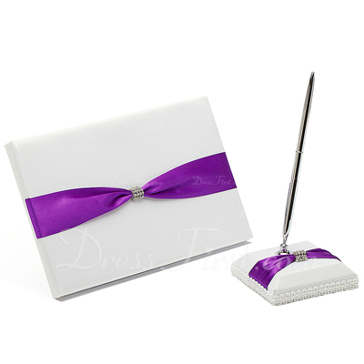 High Quality Rhinestones/Bow Guestbook & Pen Set (101036828)