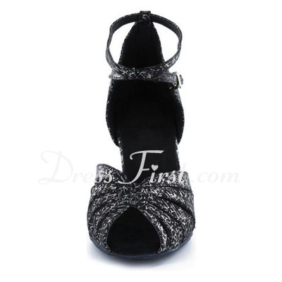 Women's Satin Heels Sandals Latin With Animal Print Ankle Strap Dance Shoes (053022329)