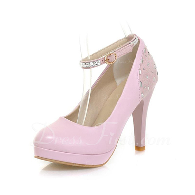 Leatherette Stiletto Heel Pumps Closed Toe With Rhinestone shoes (085054468)