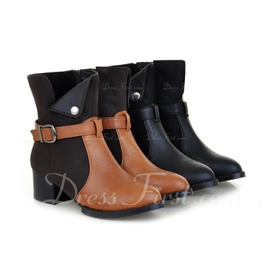Leatherette Chunky Heel Pumps Closed Toe Ankle Boots With Buckle shoes (088054806)