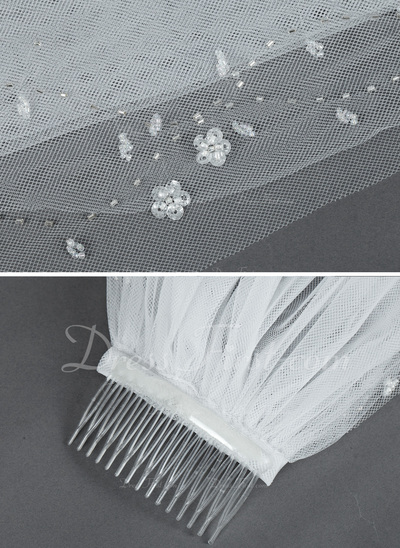 Two-tier Elbow Bridal Veils With Cut Edge (006034217)