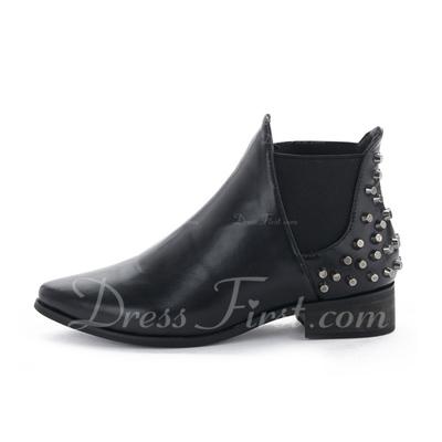 Suni deri Alçak Topuk Ayak bileği Boots Ile Perçin ayakkabı (088057507)