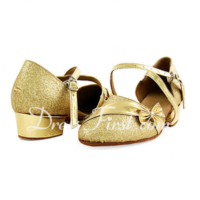 Women's Kids' Leatherette Sparkling Glitter Heels Flats Pumps Modern With Bowknot Dance Shoes (053013587)
