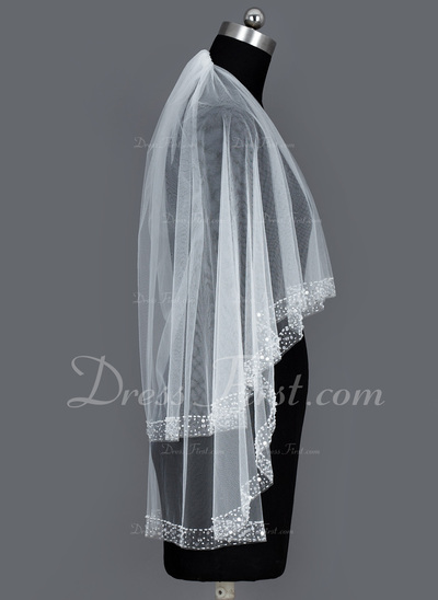 Two-tier Fingertip Bridal Veils With Beaded Edge (006034203)