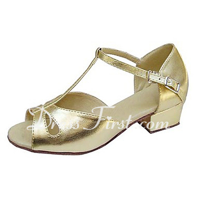 Kids' Leatherette Sandals Flats Latin With T-Strap Dance Shoes (053013538)