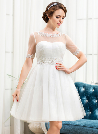 A-Line/Princess Scoop Neck Knee-Length Tulle Wedding Dress With Lace Beading Sequins (002056248)