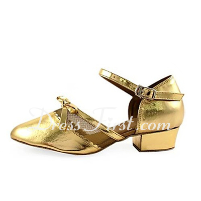 Women's Kids' Patent Leather Heels Flats Pumps Modern With Bowknot Dance Shoes (053013436)