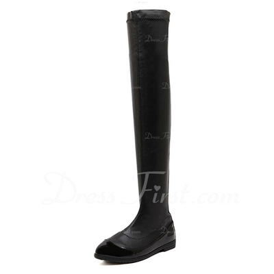 Leatherette Low Heel Boots Knee High Boots With Zipper shoes (088057535)