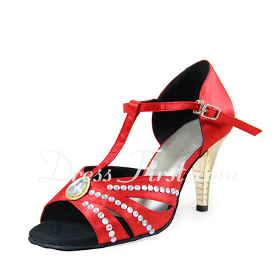 Women's Satin Heels Sandals Latin Ballroom With Rhinestone T-Strap Jewelry Heel Dance Shoes (053019937)