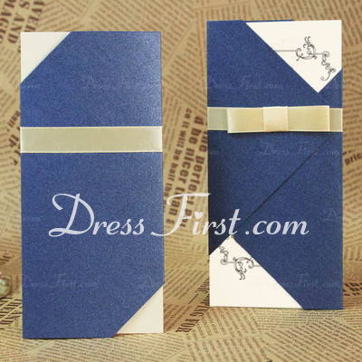 Classic Style Tri-Fold Invitation Cards With Bows/Ribbons (Set of 60) (114030706)