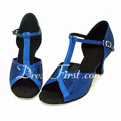 Women's Satin Sparkling Glitter Sandals Latin Ballroom With T-Strap Dance Shoes (053013537)