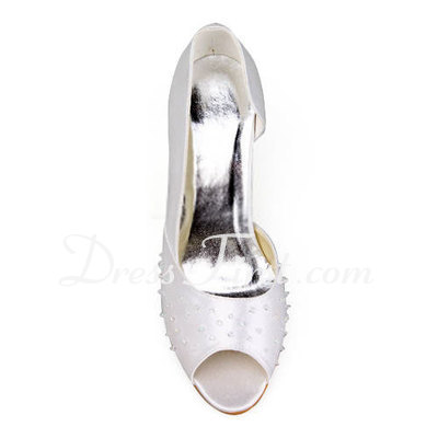 Women's Satin Stiletto Heel Peep Toe Sandals With Beading (047011891)