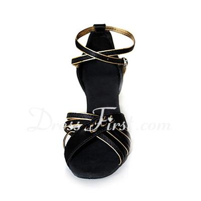Kadın Saten Topuk Sandalet Latin Balo Ile Ayakkabı Askısı Dans Ayakkabıları (053013249)
