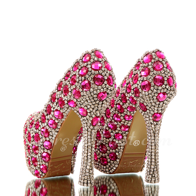 Women's Real Leather Stiletto Heel Closed Toe Platform Pumps With Rhinestone (047054794)
