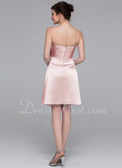 Sheath/Column Sweetheart Knee-Length Charmeuse Bridesmaid Dress With Flower(s) (007037227)