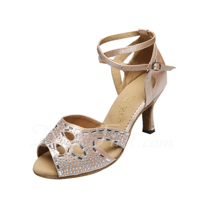 Women's Satin Heels Sandals Latin With Ankle Strap Dance Shoes (053056032)