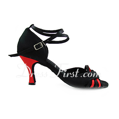Women's Satin Heels Sandals Latin With Ankle Strap Dance Shoes (053013362)