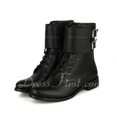 Real Leather Flat Heel Ankle Boots With Buckle shoes (088057062)