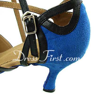 Women's Leatherette Nubuck Heels Sandals Latin With Ankle Strap Dance Shoes (053013241)