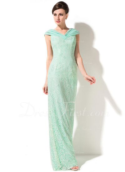 Sheath/Column Off-the-Shoulder Floor-Length Lace Mother of the Bride Dress With Ruffle (008050399)