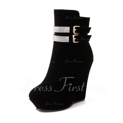 Suede Wedge Heel Ankle Boots With Rhinestone shoes (088054832)