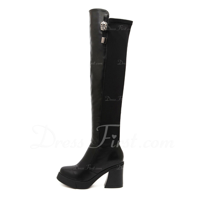 Leatherette Chunky Heel Pumps Closed Toe Boots Knee High Boots Riding Boots With Zipper shoes (088057549)