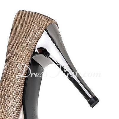 Sparkling Glitter Stiletto Heel Pumps Platform Closed Toe shoes (085016685)
