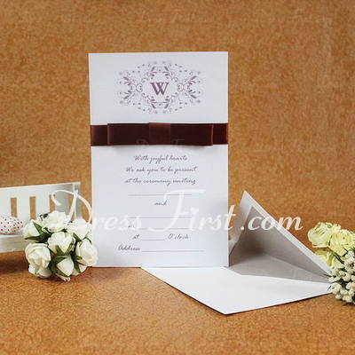 Classic Style Flat Card Invitation Cards With Ribbons (Set of 50) (114030748)