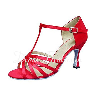 Women's Satin Leatherette Heels Sandals Latin With T-Strap Dance Shoes (053013019)