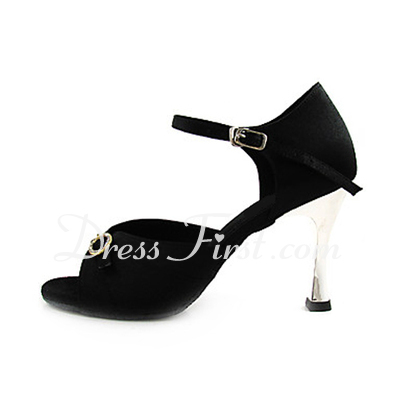 Women's Satin Heels Sandals Latin With Rhinestone Dance Shoes (053013467)