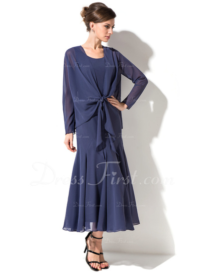 Trumpet/Mermaid Scoop Neck Tea-Length Chiffon Mother of the Bride Dress (008050045)