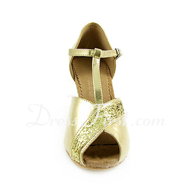 Women's Leatherette Sparkling Glitter Heels Sandals Latin Wedding Party With T-Strap Dance Shoes (053013524)