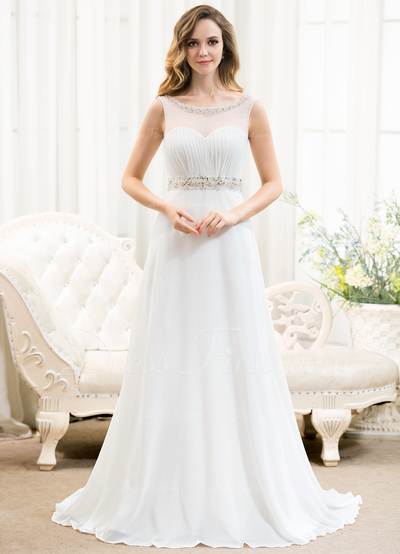 A-Line/Princess Scoop Neck Sweep Train Chiffon Wedding Dress With Ruffle Beading Sequins (002054624)