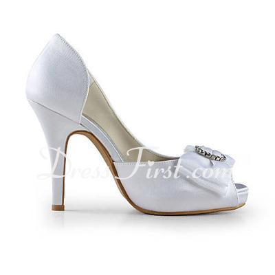 Women's Satin Cone Heel Peep Toe Platform Sandals With Bowknot Rhinestone (047016577)