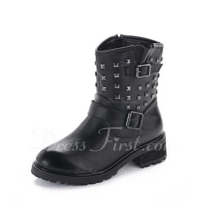Real Leather Low Heel Ankle Boots Martin Boots With Rivet shoes (088057515)