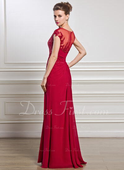 Sheath/Column Scoop Neck Floor-Length Chiffon Mother of the Bride Dress With Ruffle Beading Appliques Lace Sequins Split Front (008056834)