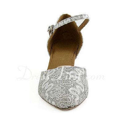 Women's Sparkling Glitter Heels Pumps Modern With Ankle Strap Dance Shoes (053013026)