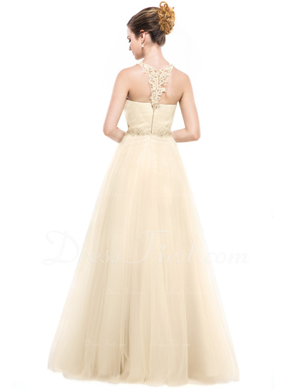 A-Line/Princess Scoop Neck Floor-Length Tulle Evening Dress With Beading Appliques Lace Sequins (017050141)