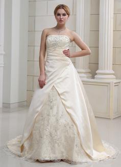 A-linjeformat Hjärtformad Court släp Satäng Organzapåse Bröllopsklänning med Broderad Pärlbrodering