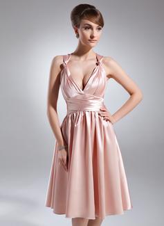 A-Line/Princess V-neck Knee-Length Charmeuse Bridesmaid Dress With Ruffle