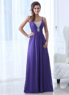 A-Linie/Princess-Linie U-Ausschnitt Bodenlang Chiffon Abendkleid mit Perlen verziert