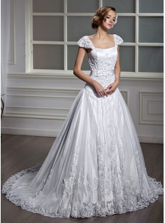 A-Line/Princess Square Neckline Court Train Satin Tulle Wedding Dress With Lace