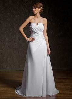 Corte A/Princesa Escote en V Cola capilla Chifón Vestido de novia con Volantes Encaje Bordado